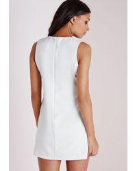 Missguided - Crepe Plunge Shift Dresschain Detail White - Lyst