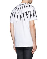 Neil Barrett White Lightning Bolt Print T-shirt for men