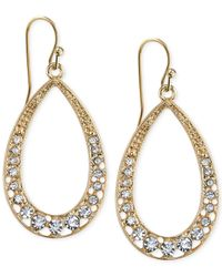2028 | Metallic Gold-Tone Crystal Front Hoop Earrings | Lyst