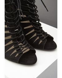 Forever 21 - Black Lace-up Faux Suede Heels - Lyst