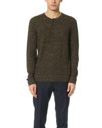 Vince - Green Wool Linen Jaspe Henley Sweater for Men - Lyst
