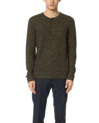 VINCE | Green Wool Linen Jaspe Henley Sweater for Men | Lyst