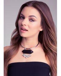 Bebe - Black Geo Pendant Necklace - Lyst