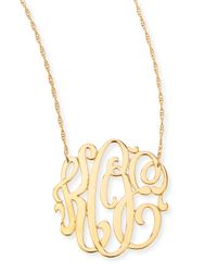 Jennifer Zeuner | Metallic 18K Gold Vermeil Medium 3-Letter Monogram Necklace | Lyst