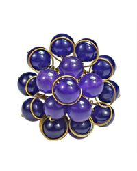 Aeravida | Metallic Handmade Bubble Dome Cluster Purple Amethyst Ring | Lyst