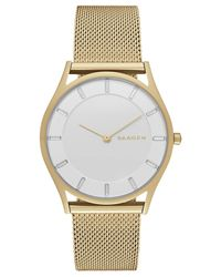 Skagen - Gray Women's Holst Rose Gold-tone Stainless Steel Mesh Bracelet Watch 34mm Skw2378 - Lyst