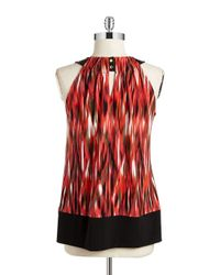 Calvin Klein | Red Patterned Halter Shell | Lyst