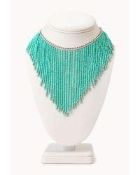 Forever 21 Blue Worldly Beaded Fringe Necklace