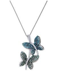 Macy's | Metallic Diamond Butterfly Pendant Necklace In 14k White Gold (3/4 Ct. T.w.) | Lyst