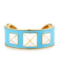 Rebecca Minkoff - Blue Enamel-studded Leather Cuff - Lyst