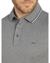 Michael Kors - Gray Regular Fit Tipped Placket Polo for Men - Lyst