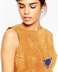 ASOS | Blue Oversize Enamel Triangle Necklace | Lyst