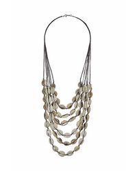 TOPSHOP | Metallic Shell And Cord Multi-row Necklace | Lyst