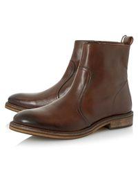 Bertie Brown Caden Leather Zip Boots for men