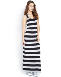 Forever 21 - Black Out To Sea Striped Maxi Dress - Lyst