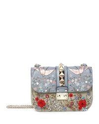 Valentino - Multicolor Rockstud Small Embroidered Shoulder Bag - Lyst