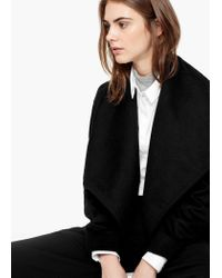 Mango - Black Lapels Wool Coat - Lyst