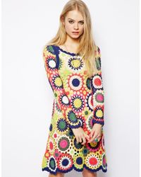 ASOS Multicolor Dress in Multi Colour Crochet
