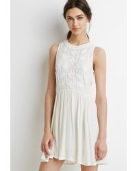 Forever 21 | Natural Embroidered Gauze Dress | Lyst
