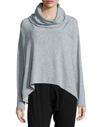 Eileen Fisher - Gray Draped Terry Sweater - Lyst