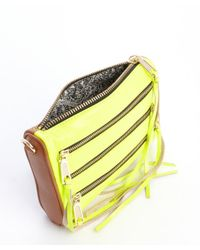 Rebecca Minkoff - Yellow Tan and Lime Leather Mini 5 Zip Convertible Crossbody Bag - Lyst
