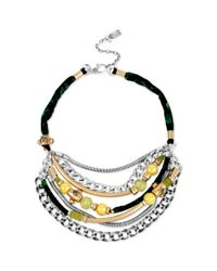 Kenneth Cole | Multicolor New York Twotone Multichain Green and Black Cord Necklace | Lyst