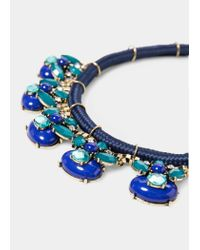 Violeta by Mango | Blue Double Beaded Necklace | Lyst