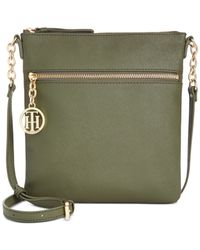 Tommy Hilfiger Green Sharon Textured North South Crossbody