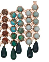 DANNIJO - Pink Medine Rose Golden Turquoise Bib Necklace - Lyst