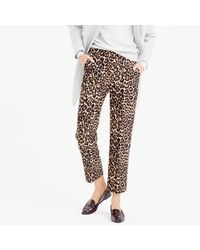 J.Crew | Multicolor Collection Wool-silk Patio Pant In Leopard Print | Lyst