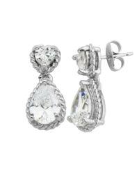 Lord & Taylor | Metallic Sterling Silver Teardrop Cubic Zirconia Earrings | Lyst