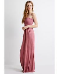 Forever 21 - Purple Smocked Maxi Dress - Lyst