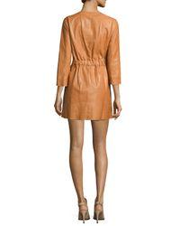 Lafayette 148 New York - Orange Jonas Leather Topper Jacket - Lyst