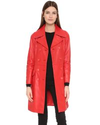 Boutique Moschino - Red Leather Trench Coat - Lyst