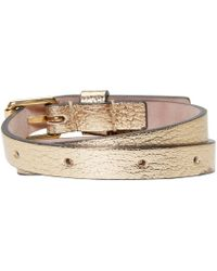 Alexander McQueen | Metallic Gold Double_wrap Leather Bracelet | Lyst