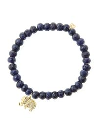 Sydney Evan | Blue 6Mm Faceted Sapphire Beaded Bracelet With 14K Yellow Gold/Diamond Small Evil Eye Charm (Made To Order) | Lyst