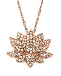 Lord & Taylor Metallic 14 Kt. Rose Gold 0.25 Tcw Diamond Lotus Flower Pendant