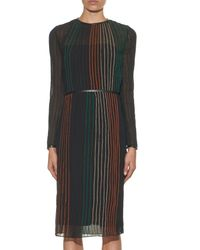Vanessa Bruno Black Delta Contrast-stitch Pleated Crepe Dress