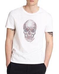 Alexander McQueen - White Skull Cotton Tee for Men - Lyst