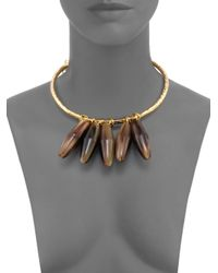 Nest | Metallic Horn Beaded Statement Collar Necklace | Lyst
