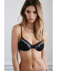 Forever 21 - Black Contrast Lace Underwire Bra - Lyst