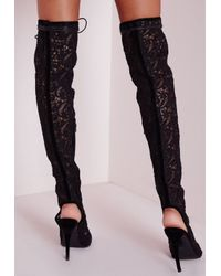 Missguided - Over The Knee Floral Lace Up Boots Black - Lyst
