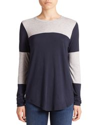 Vince - Blue Colorblocked Jersey Top - Lyst