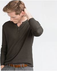 Zara | Natural Structured Jersey Top for Men | Lyst