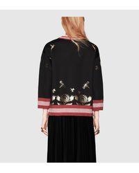 Gucci | Black Laminated Heart Jersey Sweatshirt | Lyst
