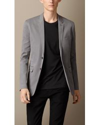 Burberry - Gray Cotton Twill Patch Pocket Blazer for Men - Lyst