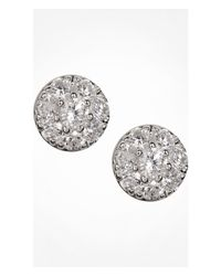 Express - Metallic All Over Cubic Zirconia Circle Stud Earrings - Lyst