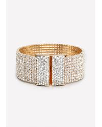 Bebe | Metallic Allover Crystal Cuff | Lyst