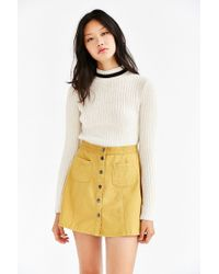 BDG Yellow Twill Button-front A-line Skirt