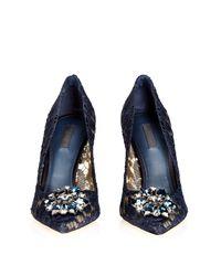 Dolce & Gabbana Black Crystal-embellished Lace Pumps